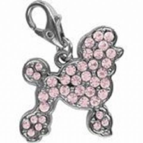 POODLE PINK CRYSTAL CHARM FOR BAGS PHONES JEWELLERY ETC